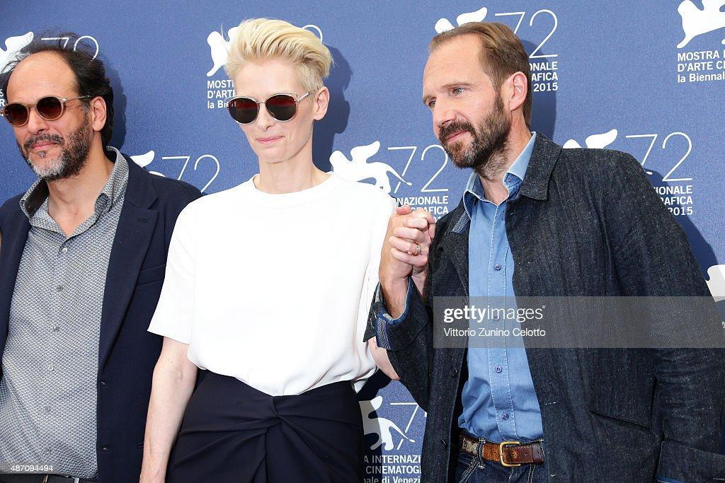 Director Luca Guadagnino, actors Tilda Swinton and Ralph Fiennes attend a photocall for 'A Bigger Splash' during the 72nd Venice Film Festival at Palazzo del Casino on September 6, 2015 in Venice, Italy.