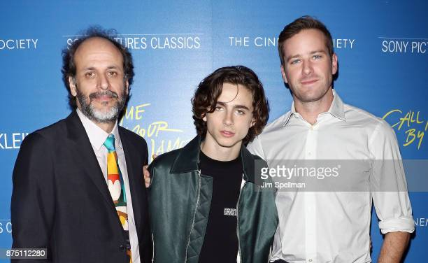 Director Luca Guadagnino actors Timothee Chalamet and Armie Hammer attend the screening of Sony Pictures Classics' 'Call Me By Your Name' hosted by...