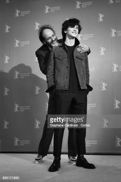 Director Luca Guadagnino and actor Timothee Chalamet attend the 'Call Me by Your Name' photo call during the 67th Berlinale International Film...