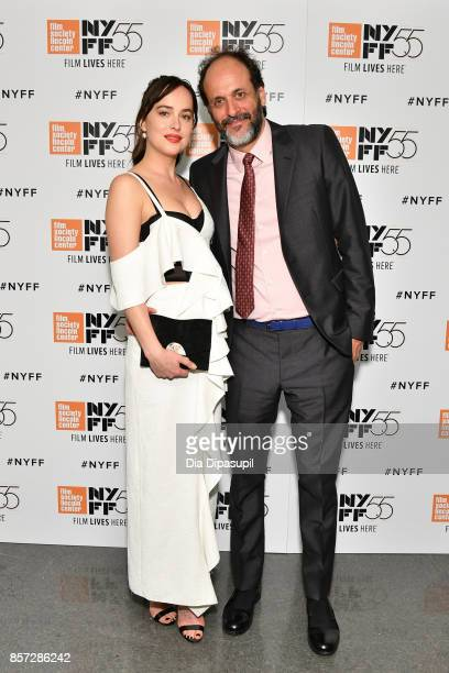 Director Luca Guadagnino and Dakota Johnson attend a screening of 'Call Me by Your Name' during the 55th New York Film Festival at Alice Tully Hall...