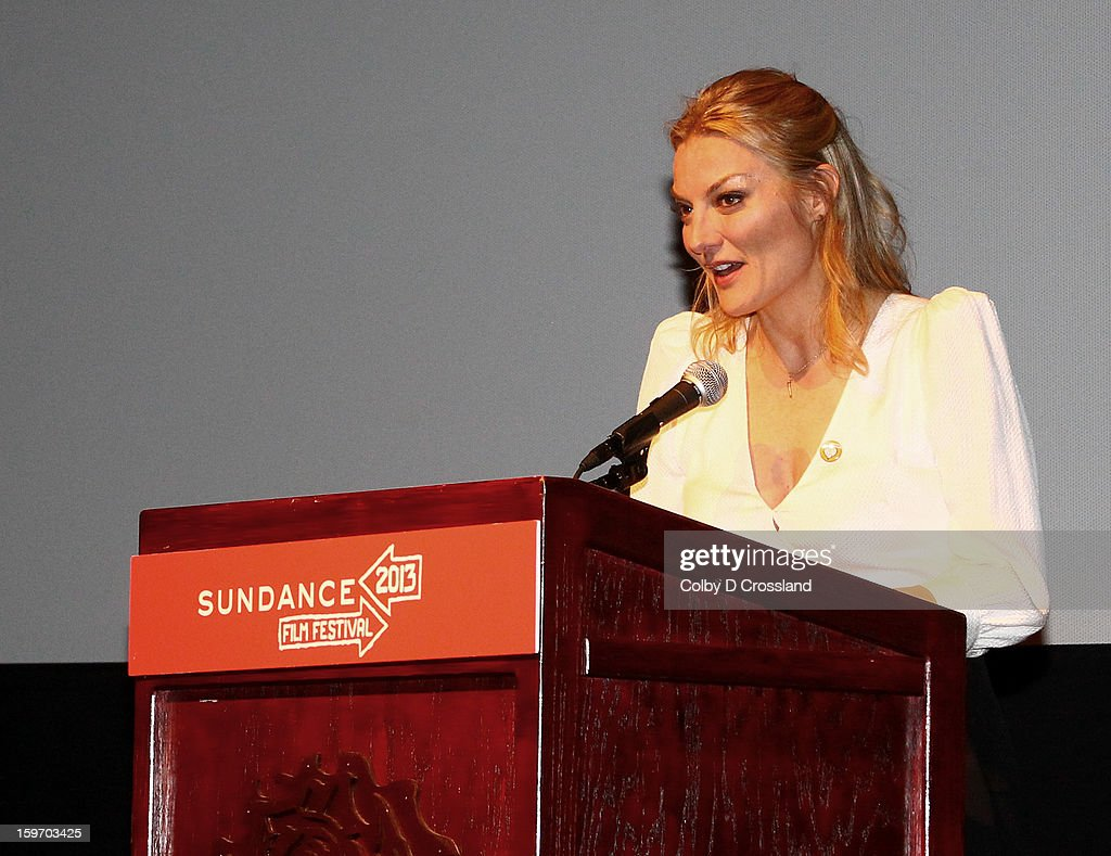 Director Lucy Walker speaks at the SLC Gala Green Room during the 2013 Sundance Film Festival at Rose Wagner Performing Arts Center on January 18, 2013 in Salt Lake City, Utah.