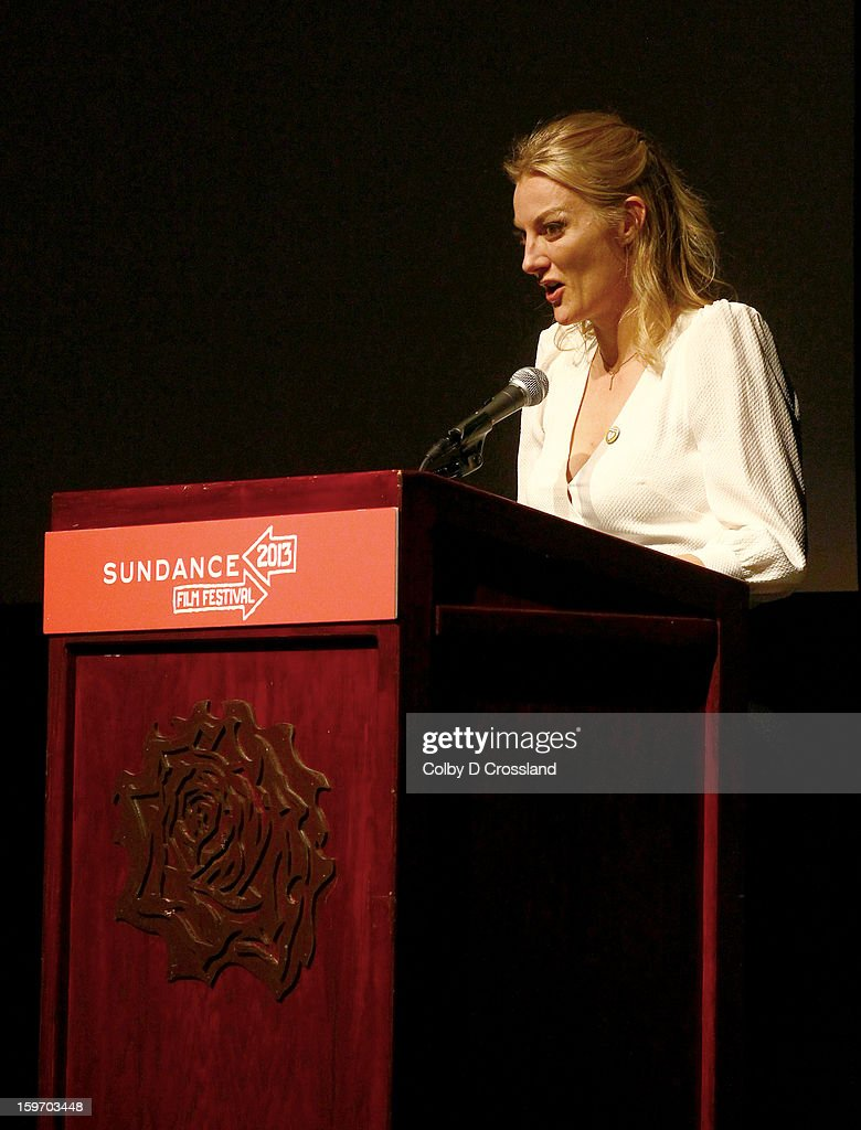 Director <a gi-track='captionPersonalityLinkClicked' href=/galleries/search?phrase=Lucy+Walker&family=editorial&specificpeople=3079373 ng-click='$event.stopPropagation()'>Lucy Walker</a> speaks at the SLC Gala Green Room during the 2013 Sundance Film Festival at Rose Wagner Performing Arts Center on January 18, 2013 in Salt Lake City, Utah.