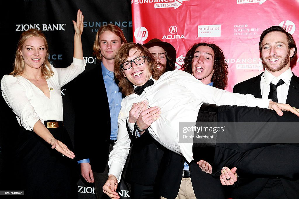 Director Lucy Walker with snowboarders Mikkel Bang, Danny Davis, Luke Mitrani, Jack Mitrani and American snowboarder Kevin Pearce attend 'The Crash Reel' Premiere at Rose Wagner Performing Arts Center on January 18, 2013 in Salt Lake City, Utah.
