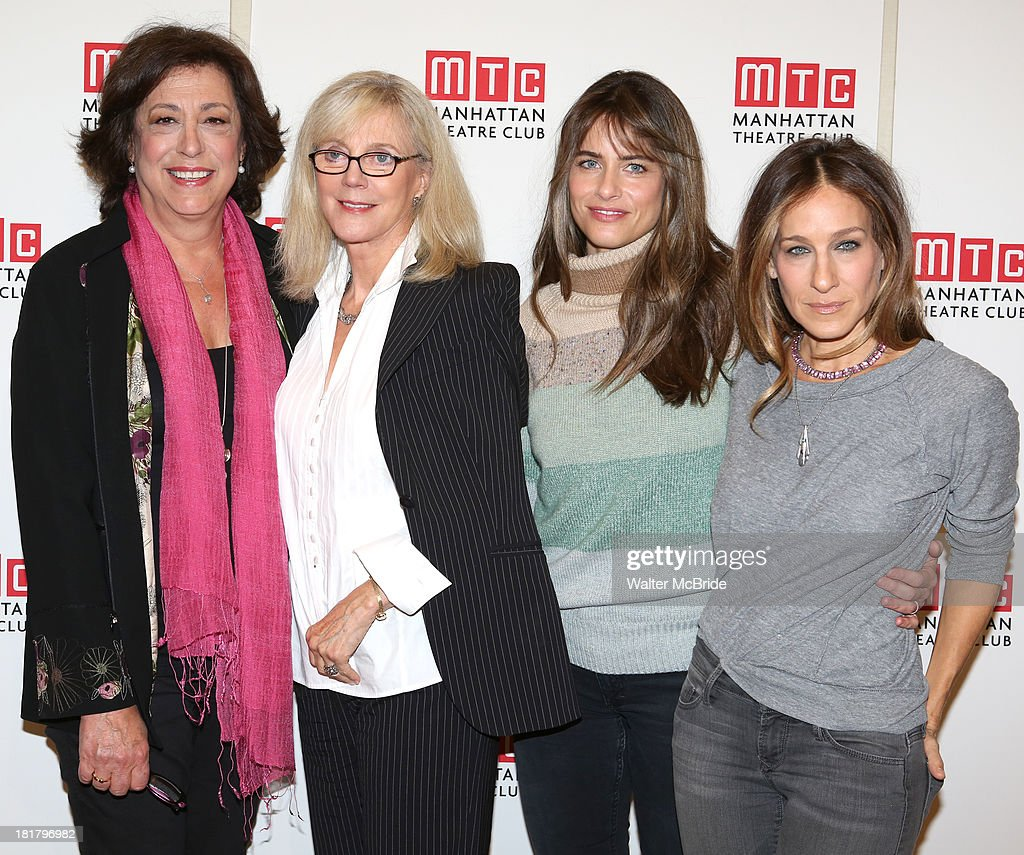 Director Lynne Meadow, <a gi-track='captionPersonalityLinkClicked' href=/galleries/search?phrase=Blythe+Danner&family=editorial&specificpeople=171210 ng-click='$event.stopPropagation()'>Blythe Danner</a>, Playwright <a gi-track='captionPersonalityLinkClicked' href=/galleries/search?phrase=Amanda+Peet&family=editorial&specificpeople=201910 ng-click='$event.stopPropagation()'>Amanda Peet</a> and <a gi-track='captionPersonalityLinkClicked' href=/galleries/search?phrase=Sarah+Jessica+Parker&family=editorial&specificpeople=201693 ng-click='$event.stopPropagation()'>Sarah Jessica Parker</a> attending the Meet & Greet for the MTC Production of 'The Commons of Pensacola' at the Manhattan Theatre Club Rehearsal Studios on September 25, 2013 in New York City.