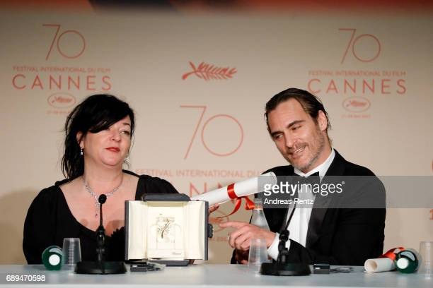 Director Lynne Ramsey and actor Joaquin Pheonix attend the Palme D'Or winner press conference during the 70th annual Cannes Film Festival at Palais...