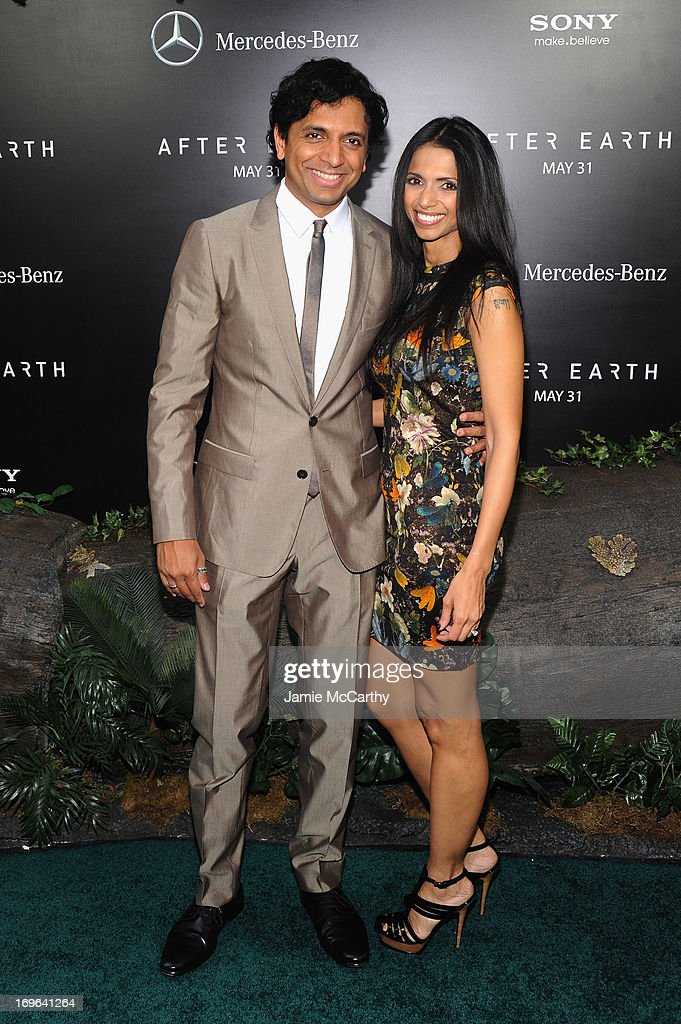 Director M. Night Shyamalan and Bhavna Vaswani attend Columbia Pictures and Mercedes-Benz Present the US Red Carpet Premiere of AFTER EARTH at Ziegfeld Theatre on May 29, 2013 in New York City.