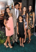 Director M Night Shyamalan and Bhavna Vaswani attend the 'After Earth' premiere at the Ziegfeld Theater on May 29 2013 in New York City