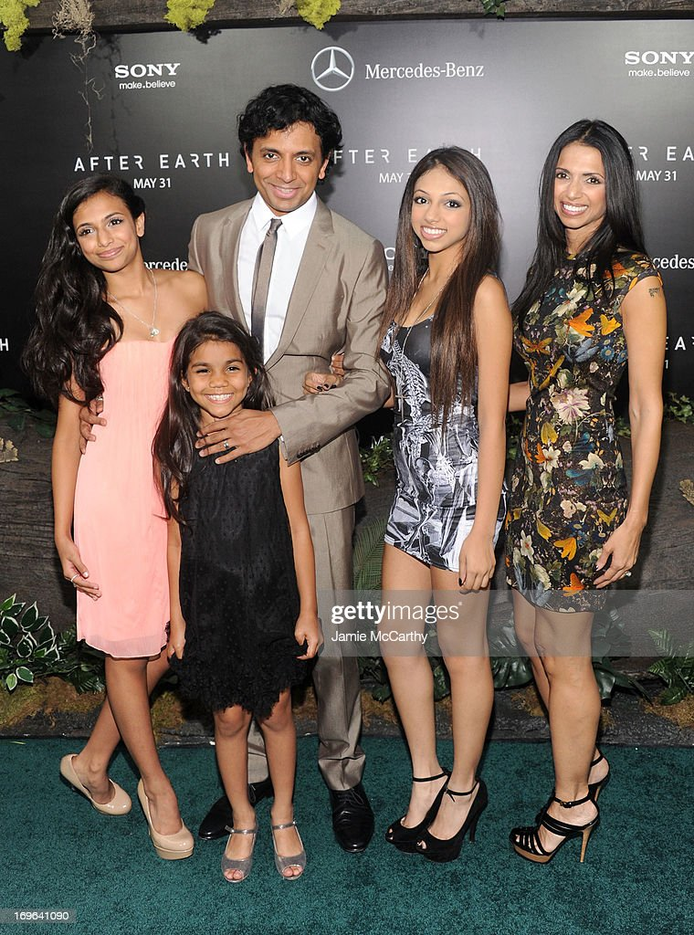 Director M. Night Shyamalan and family attend Columbia Pictures and Mercedes-Benz Present the US Red Carpet Premiere of AFTER EARTH at Ziegfeld Theatre on May 29, 2013 in New York City.