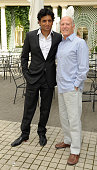 Director M Night Shyamalan and Producer Frank Marshall pose as they attend 'Le Dernier Maitre de L'air' Paris Photocall at Hotel Bristol on July 9...