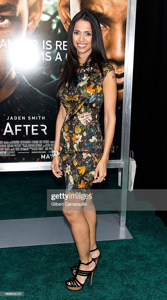 Director M. Night Shyamalan wife Bhavna Vaswani attends the 'After Earth' premiere at Ziegfeld Theater on May 29, 2013 in New York City.