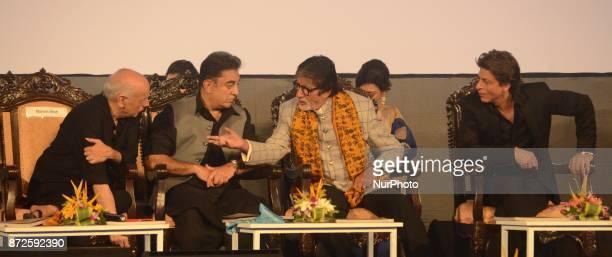 Director Mahesh Bhatt and Indian Actor Kamal Hasan Amitabh Bachchan and Shah Rukh Khan sharing moments during the inauguration ceremony of 23rd...