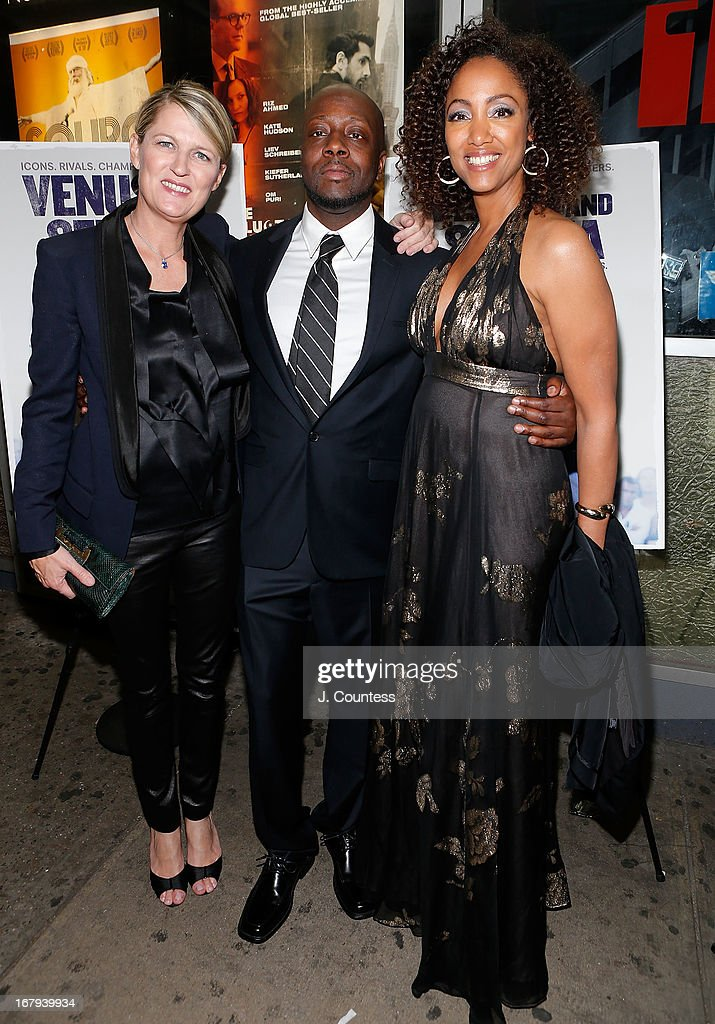 Director Maiken Baird, musician <a gi-track='captionPersonalityLinkClicked' href=/galleries/search?phrase=Wyclef+Jean&family=editorial&specificpeople=171115 ng-click='$event.stopPropagation()'>Wyclef Jean</a> and director Michelle Major attend the New York screening of 'Venus and Serena' at IFC Center on May 2, 2013 in New York City.