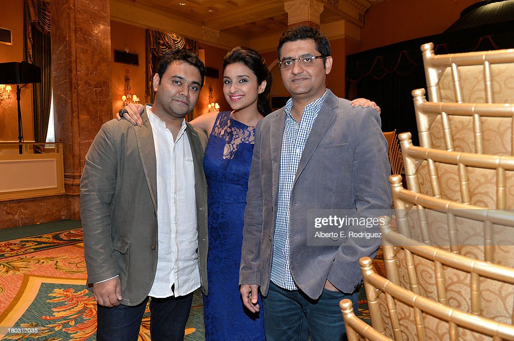 Director Maneesh Sharma, actress Parineeti Chopra and writer Jaideep Sahni from the India's 'A Random Desi Romance' cast prepare for the 2013 Toronto International Film Festival Premiere at Fairmont Royal York on September 11, 2013 in Toronto, Canada.