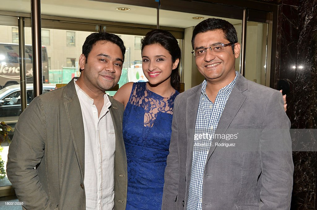 Director <a gi-track='captionPersonalityLinkClicked' href=/galleries/search?phrase=Maneesh+Sharma&family=editorial&specificpeople=7368118 ng-click='$event.stopPropagation()'>Maneesh Sharma</a>, actress <a gi-track='captionPersonalityLinkClicked' href=/galleries/search?phrase=Parineeti+Chopra&family=editorial&specificpeople=8923134 ng-click='$event.stopPropagation()'>Parineeti Chopra</a> and writer Jaideep Sahni from the India's 'A Random Desi Romance' cast prepare for the 2013 Toronto International Film Festival Premiere at Fairmont Royal York on September 11, 2013 in Toronto, Canada.
