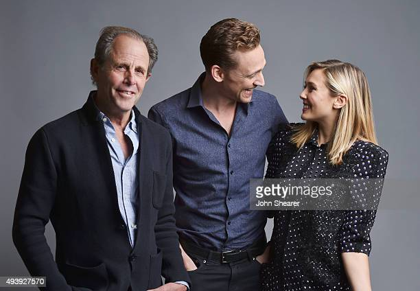Director Marc Abraham actress Elizabeth Olsen and actor Tom Hiddleston pose for a portrait at the 'I Saw The Light' press day on October 17 2015 in...