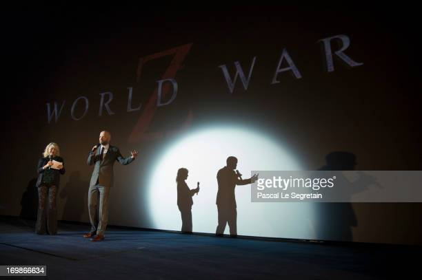 Director Marc Forster speaks onto the stage during the Paris premiere of the film 'World War Z' at Cinema UGC Normandie on June 3 2013 in Paris France