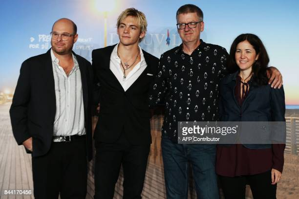 US director Marc Meyers US actor Ross Lynch US cartoonist Derf Backderf and US producer Jody Girgenti pose during a photocall for the movie 'My...