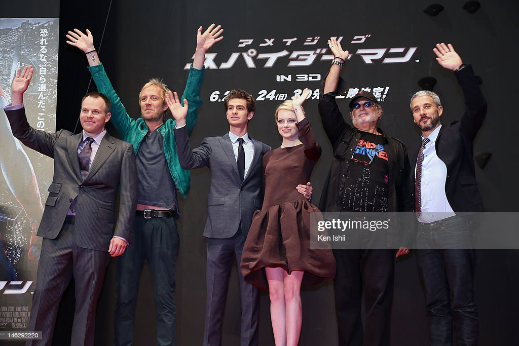 Director Marc Webb, actors Rhys Ifans, Andrew Garfield, actress Emma Stone, Producers Avi Arad and Matt Tolmach attend the world Premiere of 'The Amazing Spider-Man' at Roppongi Hills on June 13, 2012 in Tokyo, Japan. The film will open on June 30 in Japan.