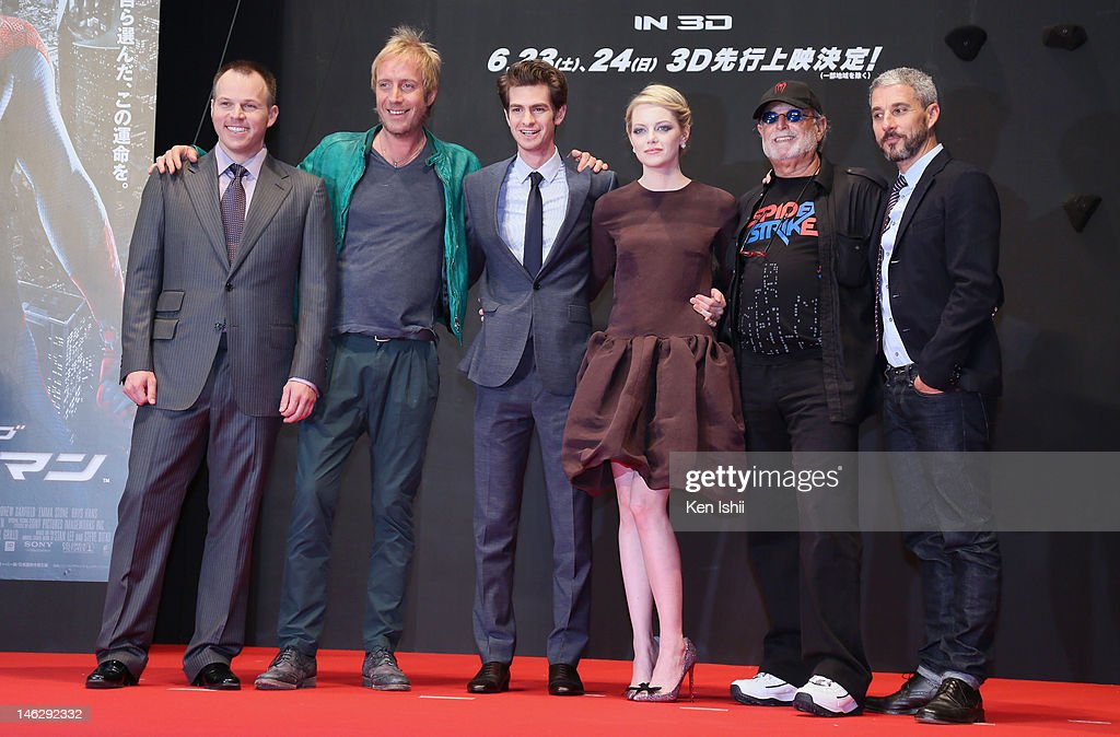 Director Marc Webb, actors <a gi-track='captionPersonalityLinkClicked' href=/galleries/search?phrase=Rhys+Ifans&family=editorial&specificpeople=204530 ng-click='$event.stopPropagation()'>Rhys Ifans</a>, <a gi-track='captionPersonalityLinkClicked' href=/galleries/search?phrase=Andrew+Garfield&family=editorial&specificpeople=4047840 ng-click='$event.stopPropagation()'>Andrew Garfield</a>, actress <a gi-track='captionPersonalityLinkClicked' href=/galleries/search?phrase=Emma+Stone&family=editorial&specificpeople=672023 ng-click='$event.stopPropagation()'>Emma Stone</a>, Producers <a gi-track='captionPersonalityLinkClicked' href=/galleries/search?phrase=Avi+Arad&family=editorial&specificpeople=208963 ng-click='$event.stopPropagation()'>Avi Arad</a> and <a gi-track='captionPersonalityLinkClicked' href=/galleries/search?phrase=Matt+Tolmach&family=editorial&specificpeople=744202 ng-click='$event.stopPropagation()'>Matt Tolmach</a> attend the world Premiere of 'The Amazing Spider-Man' at Roppongi Hills on June 13, 2012 in Tokyo, Japan. The film will open on June 30 in Japan.