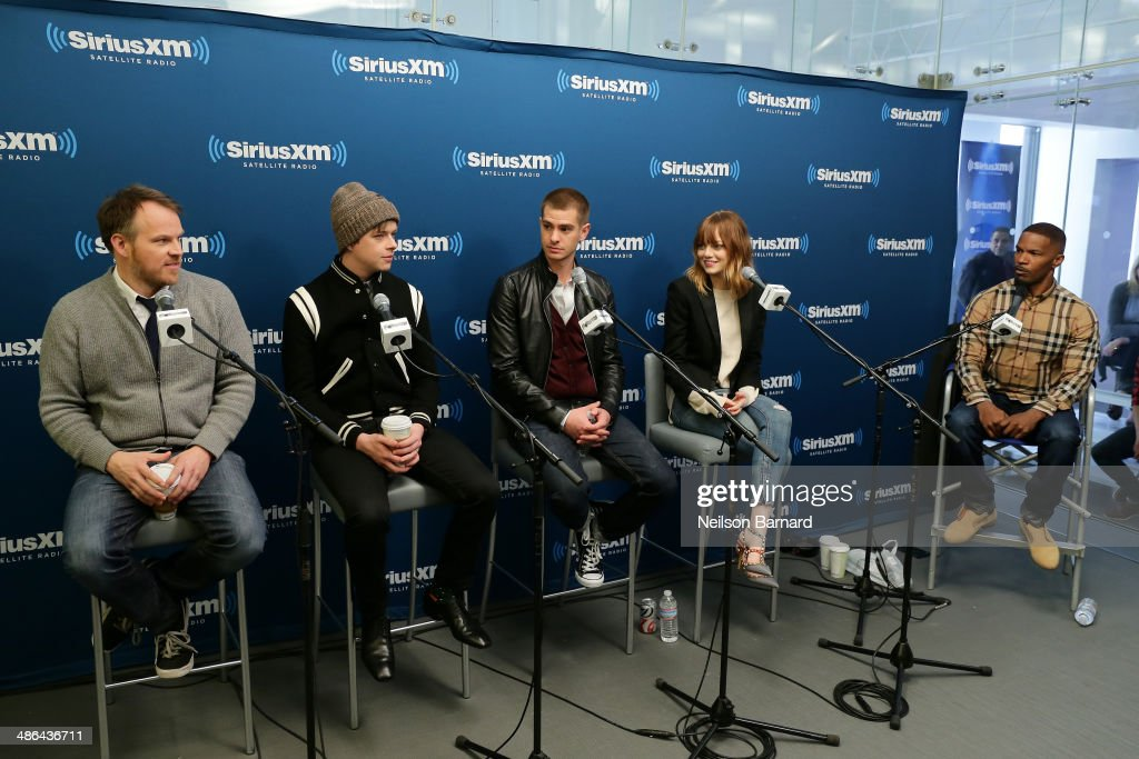 Director Marc Webb Dane DeHaan Andrew Garfield Emma Stone and Jamie Foxx of the cast of 'The Amazing SpiderMan 2' answer questions from fans during a...