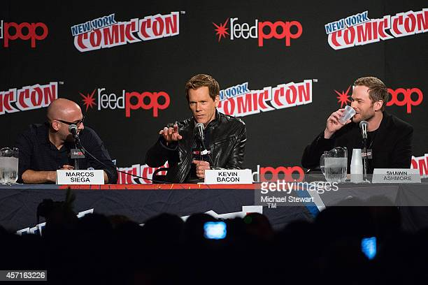 Director Marcos Siega actor Kevin Bacon and actor Shawn Ashmore attend Fox Network's 'The Following' panel at 2014 New York Comic Con Day 4 at Jacob...