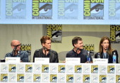 Director Marcos Siega actor Kevin Bacon show creator Kevin Williamson and executive producer Jennifer Johnson attend FOX's 'The Following' panel...