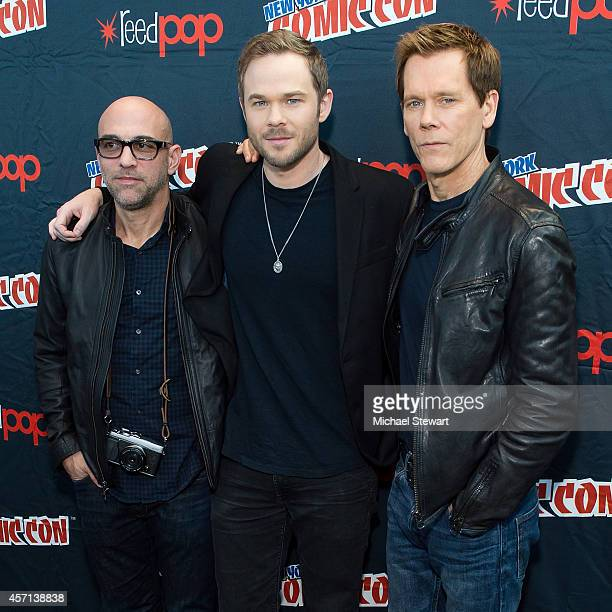 Director Marcos Siega actor Shawn Ashmore and actor Kevin Bacon attend Fox Network's 'The Following' press room at 2014 New York Comic Con Day 4 at...
