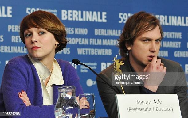 Director Maren Ade and actor Lars Eidinger attend the 'Everyone Else' press conference during the 59th Berlin International Film Festival at the...