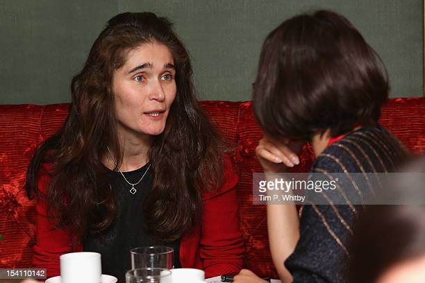 Director Maria Saakyan speaks to the media as she attends the Filmmaker Afternoon Tea during the 56th BFI London Film Festival at The Mayfair Hotel...