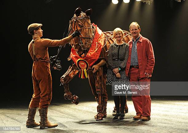 Director Marianne Elliott and writer Michael Morpurgo pose with 'Joey' the horse following the 5th Anniversary Performance of 'War Horse' at The New...