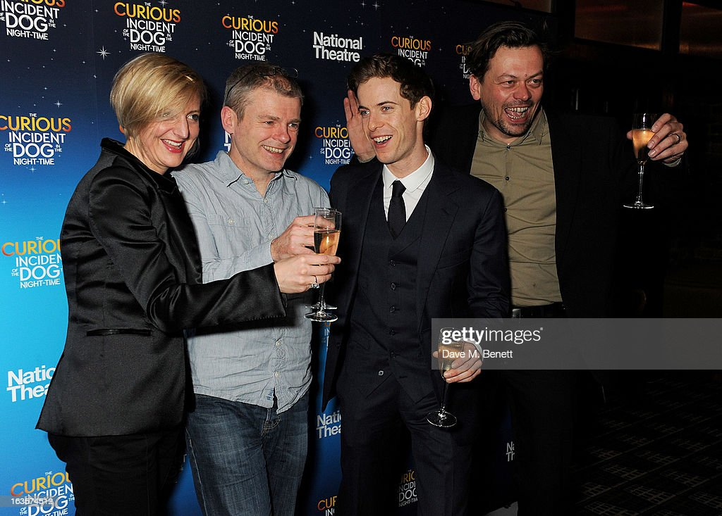 Director Marianne Elliott author Mark Haddon actor Luke Treadaway and playwright Simon Stephens attend an after party celebrating the press night...