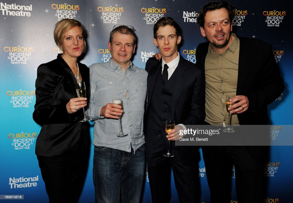 Director Marianne Elliott, author <a gi-track='captionPersonalityLinkClicked' href=/galleries/search?phrase=Mark+Haddon&family=editorial&specificpeople=224603 ng-click='$event.stopPropagation()'>Mark Haddon</a>, actor <a gi-track='captionPersonalityLinkClicked' href=/galleries/search?phrase=Luke+Treadaway&family=editorial&specificpeople=737104 ng-click='$event.stopPropagation()'>Luke Treadaway</a> and playwright Simon Stephens attend an after party celebrating the press night performance of 'The Curious Incident of the Dog in the Night-Time' at Century on March 12, 2013 in London, England.