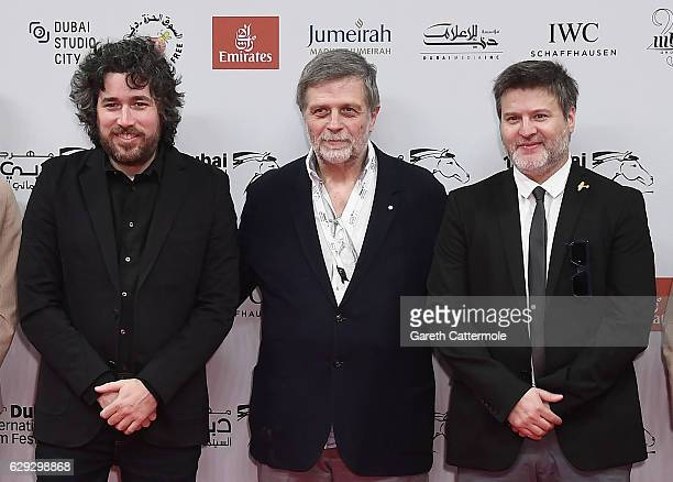 Director Mariano Cohn producer Fernando Sokolowicz and director Gaston Duprat attend 'The Distinguished Citizen' red carpet during day six of the...