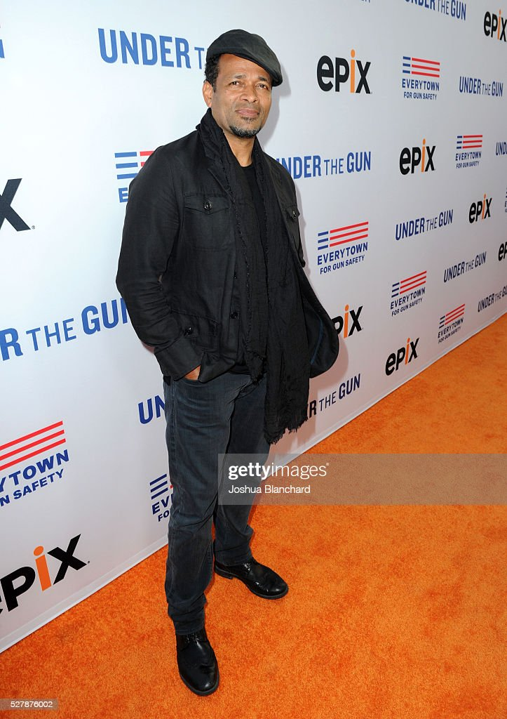 Director Mario Van Peebles attends the 'Under The Gun' LA premiere featuring Katie Couric and Stephanie Soechtig at Samuel Goldwyn Theater on May 3...