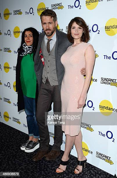 Director Marjane Satrapi with Ryan Reynolds and Gemma Arterton attend the premiere of 'The Voices' at Sundance London held at Cineworld 02 Arena on...