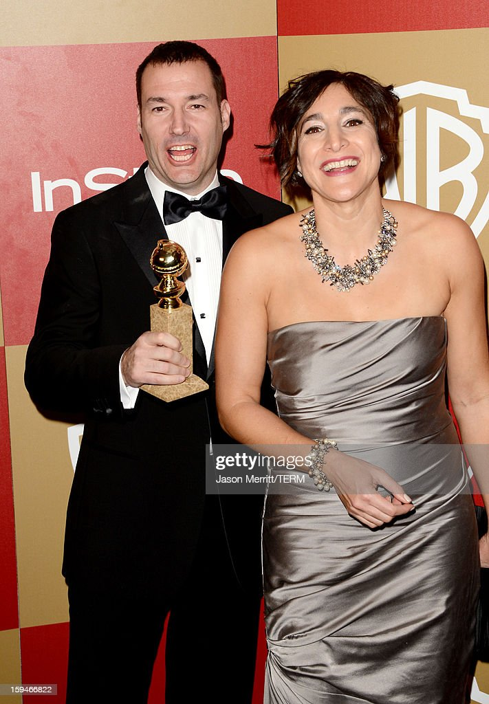 Director Mark Andrews (L), winner of Best Animated Film for 'Brave,' and guest attend the NBCUniversal Golden Globes viewing and after party held at The Beverly Hilton Hotel on January 13, 2013 in Beverly Hills, California.