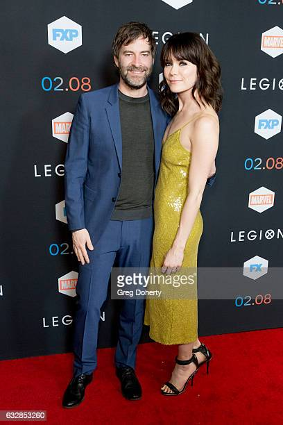 Director Mark Duplass and Actress Katie Aselton arrive for the Premiere Of FX's 'Legion' at Pacific Design Center on January 26 2017 in West...