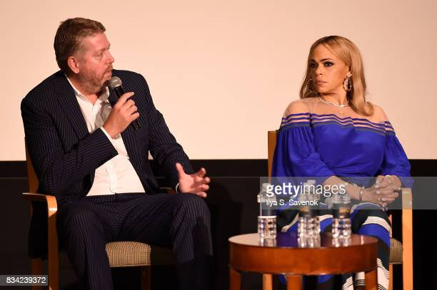 Director Mark Ford and Faith Evans speak onstage at the screening of AE 'Biography Presents Biggie The Life Of Notorious BIG' at DGA Theater on...