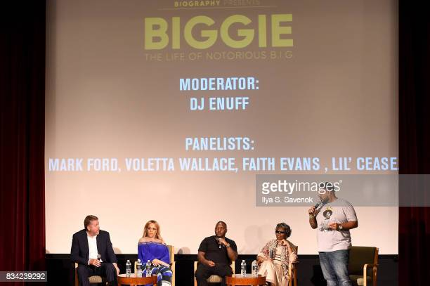 Director Mark Ford Faith Evans Lil' Cease Voletta Wallace and DJ Enuff speak onstage at the screening of AE 'Biography Presents Biggie The Life Of...