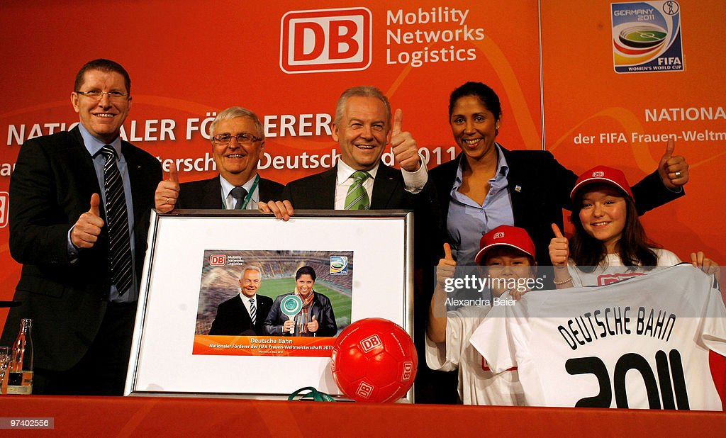 FIFA Director Marketing division Thierry Weil president of the German Soccer Federation DFB Theo Zwanziger CEO of Deutsche Bahn Ruediger Grube and...