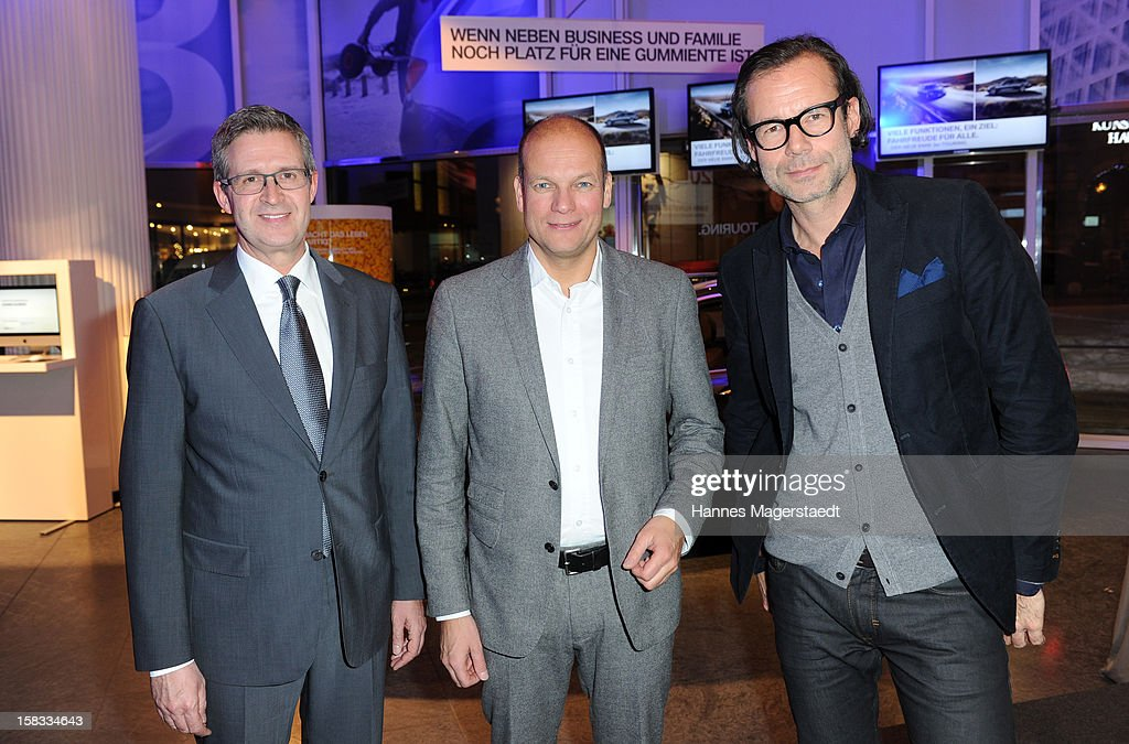 BMW Director Marketing Germany Johannes Seibert, Alexander Gedat and CEO of Marc O'Polo Andreas Baumgaertner attend the BMW Adventskalender opening with Hannes Jaenicke at the BMW Pavillion on December 13, 2012 in Munich, Germany.