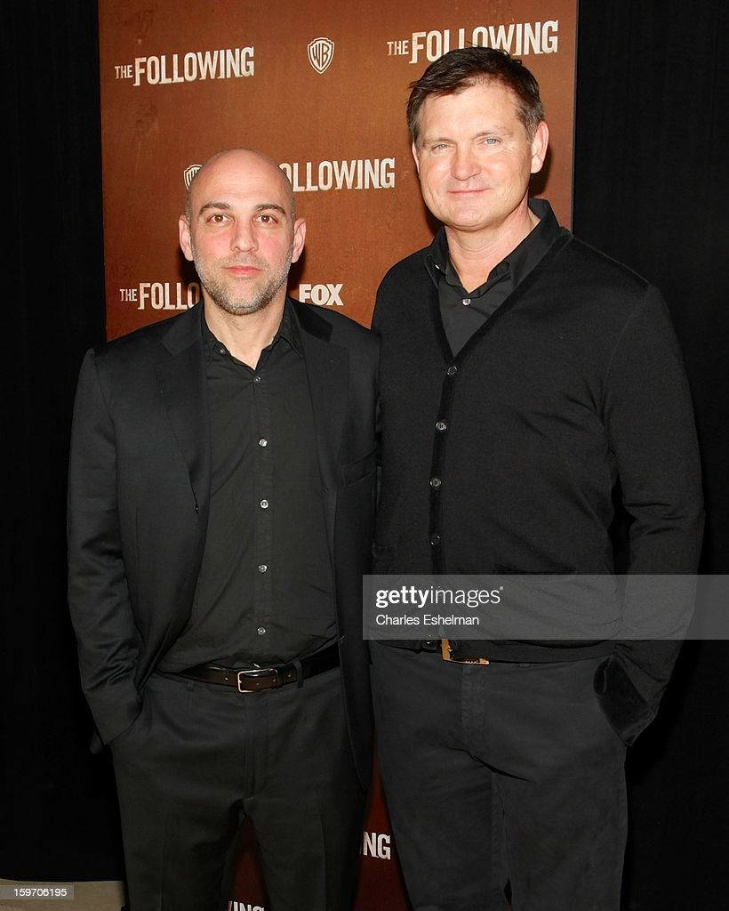 Director Marocs Siega and creator Kevin Williamson attend 'The Following' premiere at The New York Public Library on January 18, 2013 in New York City.