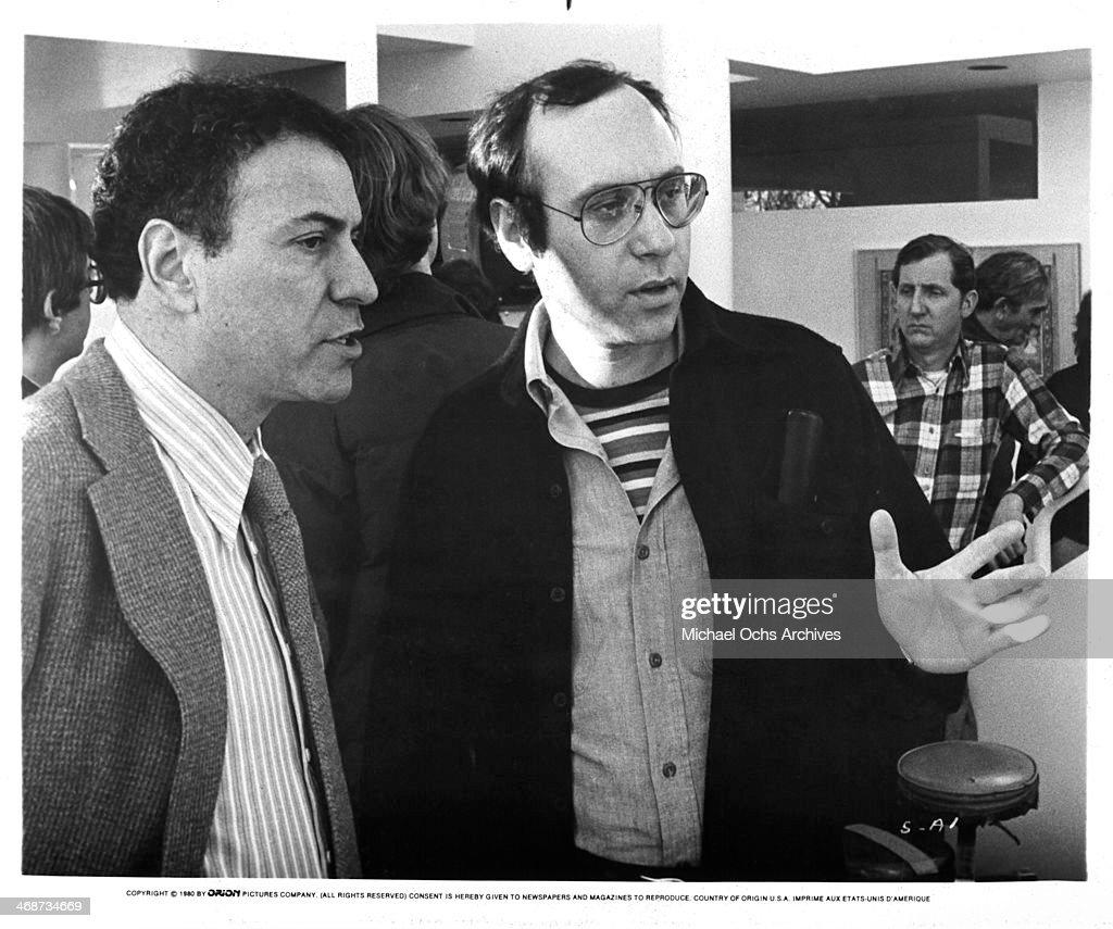 Director Marshall Brickman and actor Alan Arkin on set the movie 'Simon' circa 1980