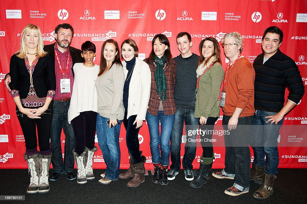 Director Marta Cunningham (3rd L), producers Sasha Alpert (5th L) and Eddie Schmidt (2nd R) and film crew attend the 'Valentine Road' premiere at Temple Theater during the 2013 Sundance Film Festival on January 19, 2013 in Park City, Utah.
