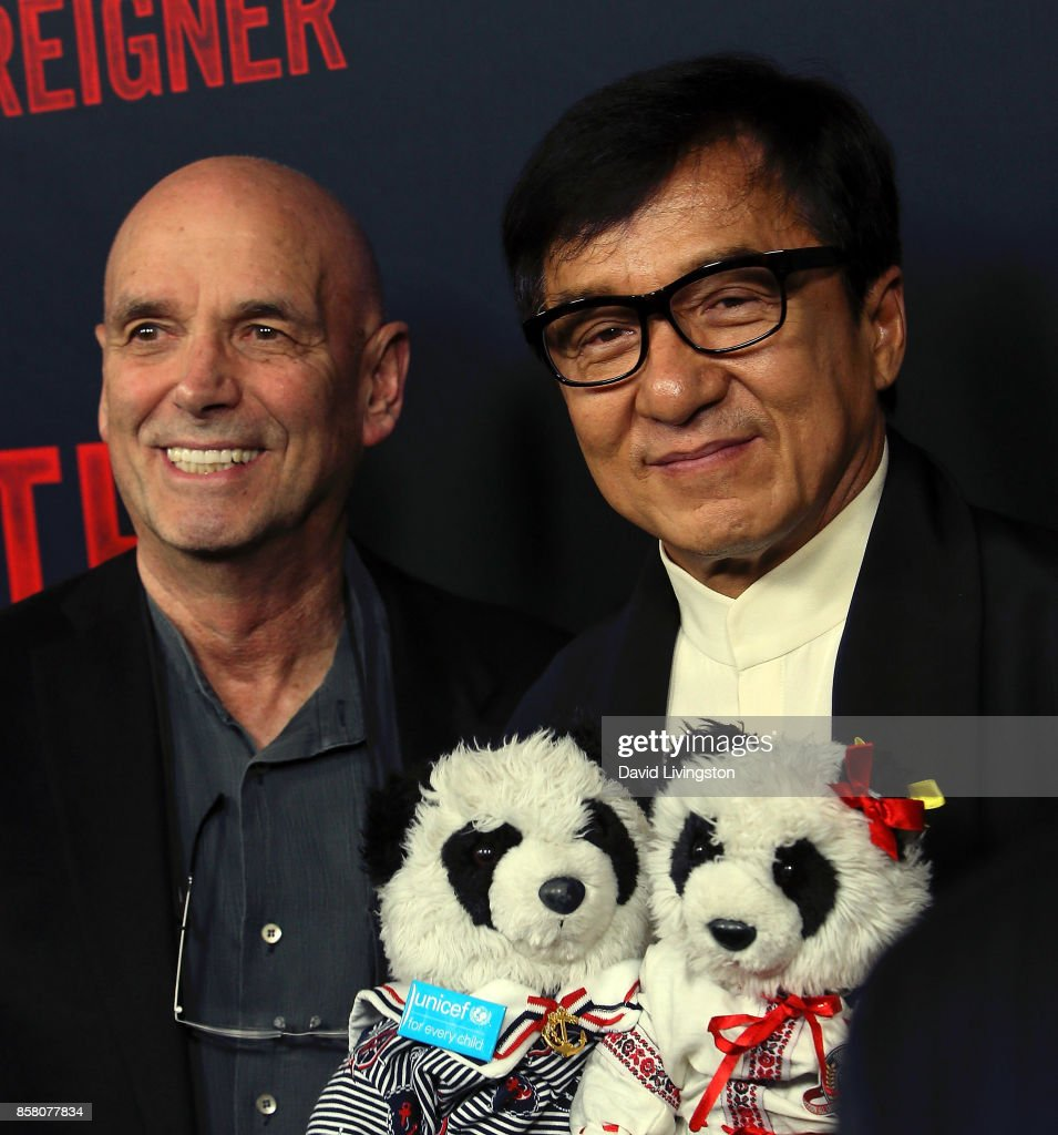 Director Martin Campbell (L) and actor Jackie Chan attend the premiere of STX Entertainment's 'The Foreigner' at ArcLight Hollywood on October 5, 2017 in Hollywood, California.