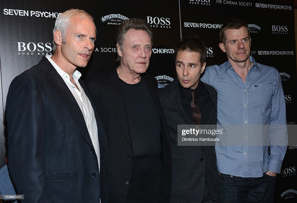 Director <a gi-track='captionPersonalityLinkClicked' href=/galleries/search?phrase=Martin+McDonagh&family=editorial&specificpeople=651423 ng-click='$event.stopPropagation()'>Martin McDonagh</a>, <a gi-track='captionPersonalityLinkClicked' href=/galleries/search?phrase=Christopher+Walken&family=editorial&specificpeople=209174 ng-click='$event.stopPropagation()'>Christopher Walken</a>, <a gi-track='captionPersonalityLinkClicked' href=/galleries/search?phrase=Sam+Rockwell&family=editorial&specificpeople=213214 ng-click='$event.stopPropagation()'>Sam Rockwell</a> and Graham Broadbent attend The Cinema Society with Hugo Boss and Appleton Estate screening of 'Seven Psychopaths' at Clearview Chelsea Cinemas on October 10, 2012 in New York City.