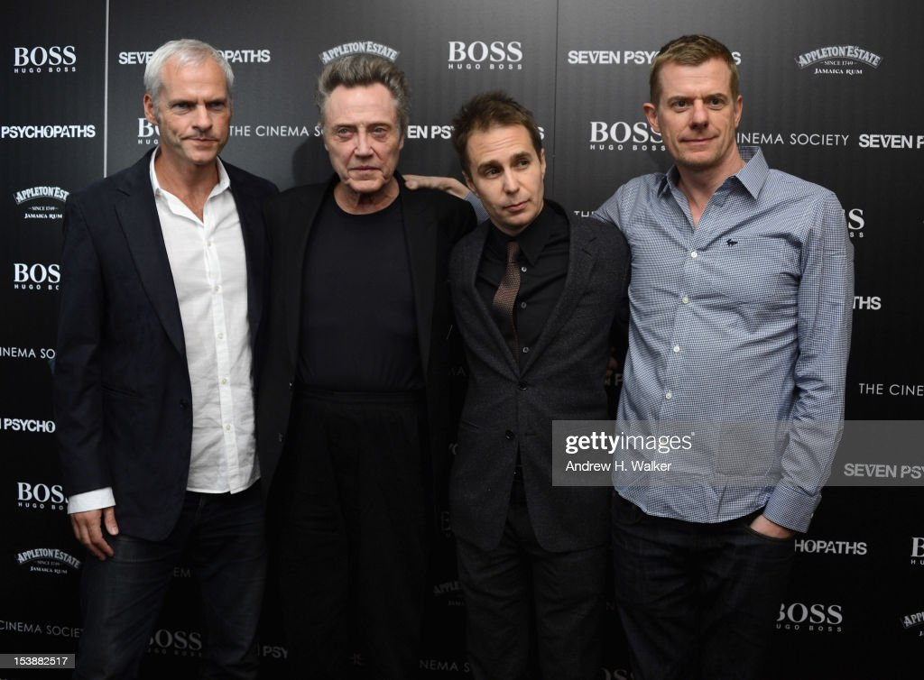 Director Martin McDonagh, Christopher Walken, Sam Rockwell and Graham Broadbent attend The Cinema Society with Hugo Boss and Appleton Estate screening of 'Seven Psychopaths' at Clearview Chelsea Cinemas on October 10, 2012 in New York City.