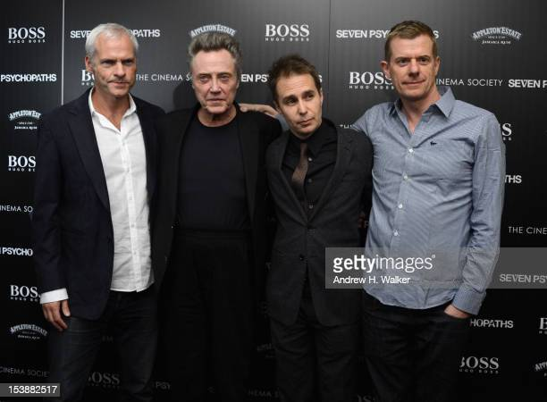 Director Martin McDonagh Christopher Walken Sam Rockwell and Graham Broadbent attend The Cinema Society with Hugo Boss and Appleton Estate screening...