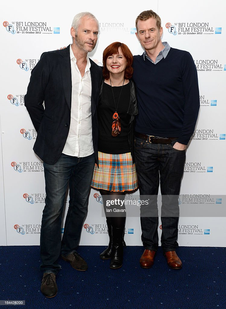 Director Martin McDonagh, Festival Director Clare Stewart and producer Graham Broadbent attend the 'Seven Psychopaths' premiere during the 56th BFI London Film Festival at the Odeon West End on October 19, 2012 in London, England.