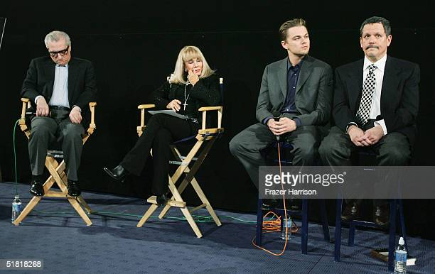 Director Martin Scorsese actress Terry Moore actor Leonardo DiCaprio and DrJeffrey Schwartz at the Friends of NPI pre screening of 'The Aviator' at...
